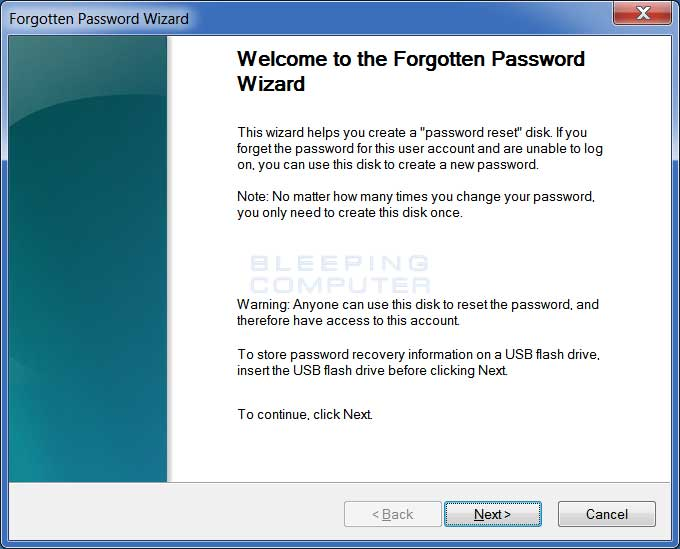 Forgotten Password Wizard start screen